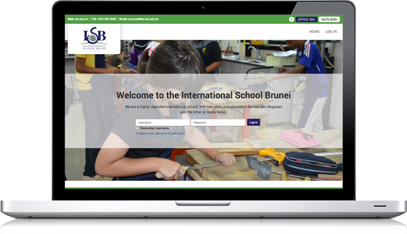 Screenshot showing the ISB Moodle login page