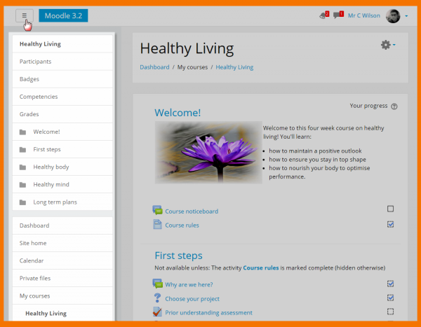 The new Boost theme. Source: moodle.org