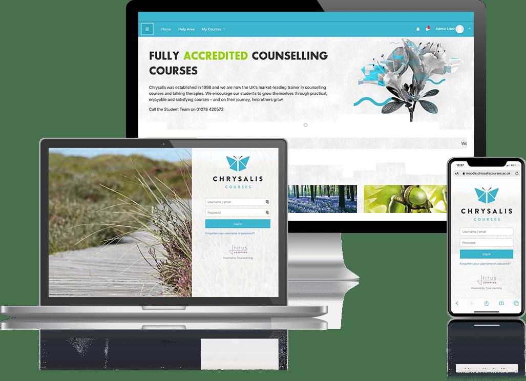 Chrysalis Courses - Titus Moodle Client Mockup