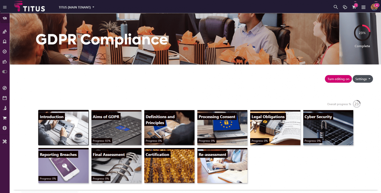 Moodle Workplace Screenshot for Compliance